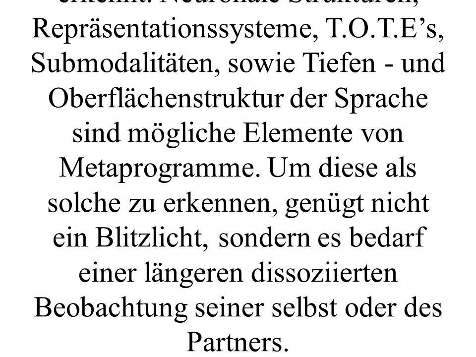 Metaprogramme drücken sich meist auf einer sehr hohen, logischen Ebene aus.