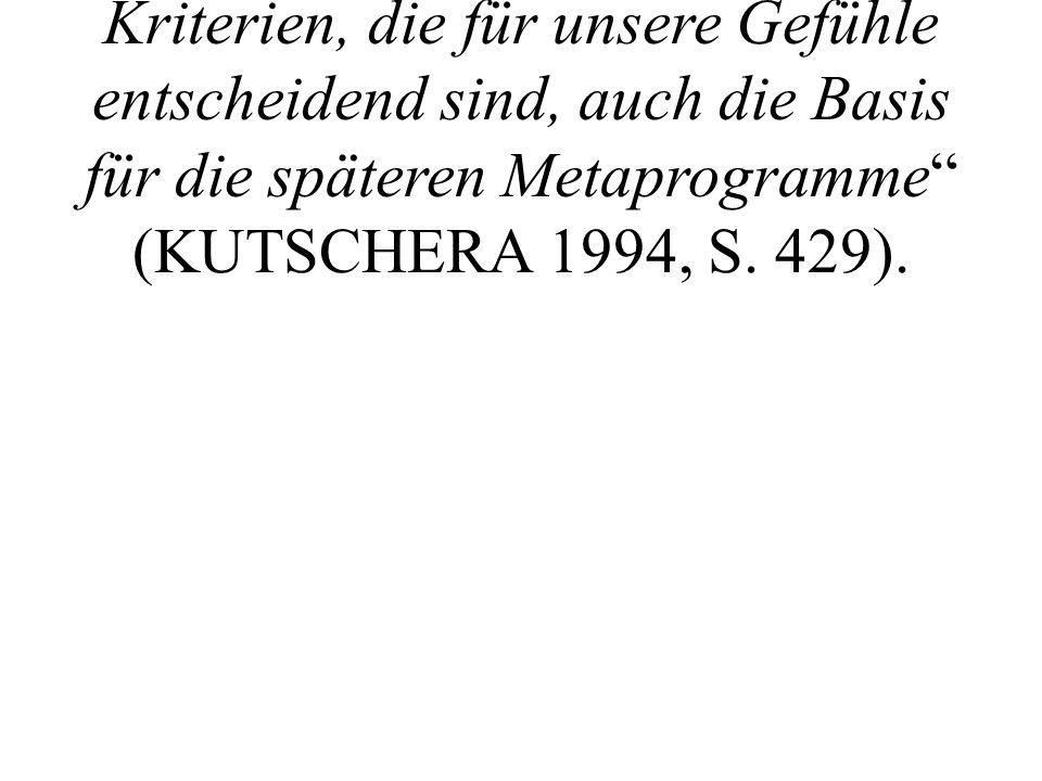 """Nach KUTSCHERA sind """"die Kriterien, die für unsere Gefühle entscheidend sind, auch die Basis für die späteren Metaprogramme (KUTSCHERA 1994, S."""