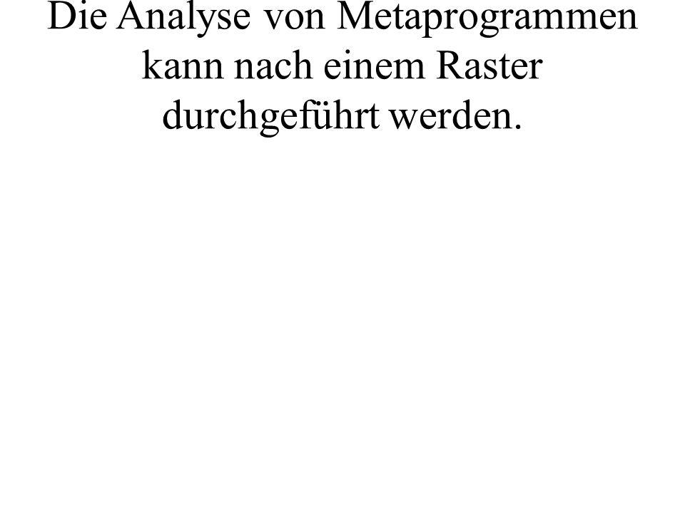 Die Analyse von Metaprogrammen kann nach einem Raster durchgeführt werden.