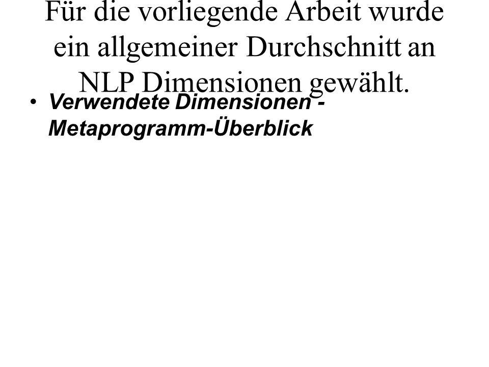 Für die vorliegende Arbeit wurde ein allgemeiner Durchschnitt an NLP Dimensionen gewählt.