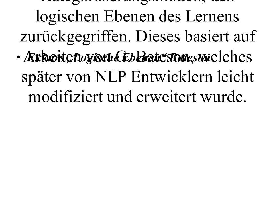 In diesem Fall wird auf ein zweites, dem NLP nahestehendem Kategorisierungsmodell, den logischen Ebenen des Lernens zurückgegriffen. Dieses basiert auf Arbeiten von G. Bateson, welches später von NLP Entwicklern leicht modifiziert und erweitert wurde.