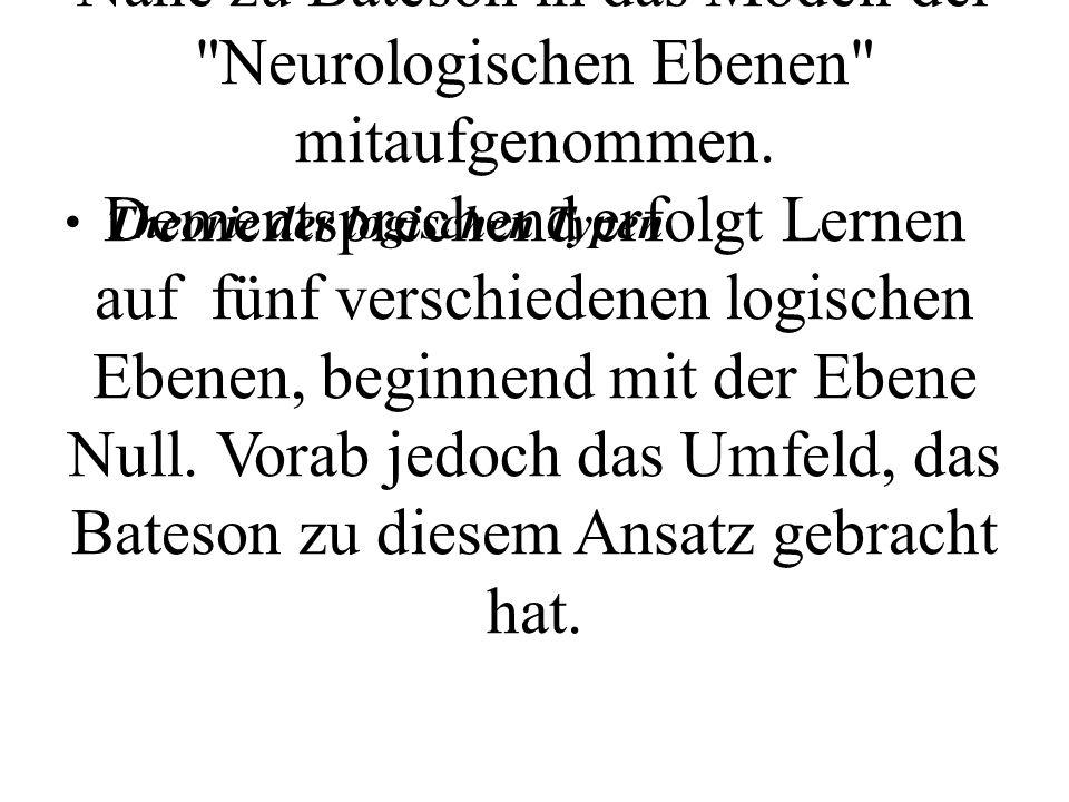 In der Systemtheorie von Gregory Bateson führt dieser die logischen Ebenen des Lernens ein. Diese wurden dann von den NLP- Entwicklern vielleicht ob deren Nähe zu Bateson in das Modell der Neurologischen Ebenen mitaufgenommen. Dementsprechend erfolgt Lernen auf fünf verschiedenen logischen Ebenen, beginnend mit der Ebene Null. Vorab jedoch das Umfeld, das Bateson zu diesem Ansatz gebracht hat.