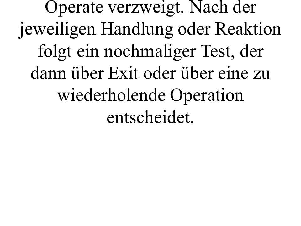 Ergibt die Testphase jedoch, daß eine Handlung oder eine Reaktion notwendig ist, so wird nach Operate verzweigt.