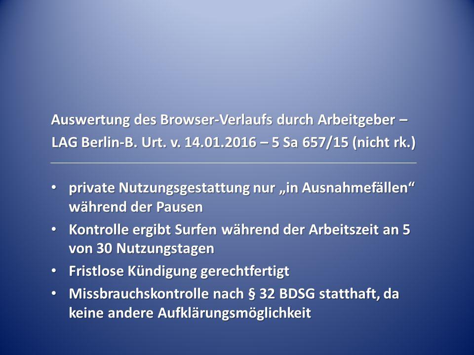 Auswertung des Browser-Verlaufs durch Arbeitgeber –