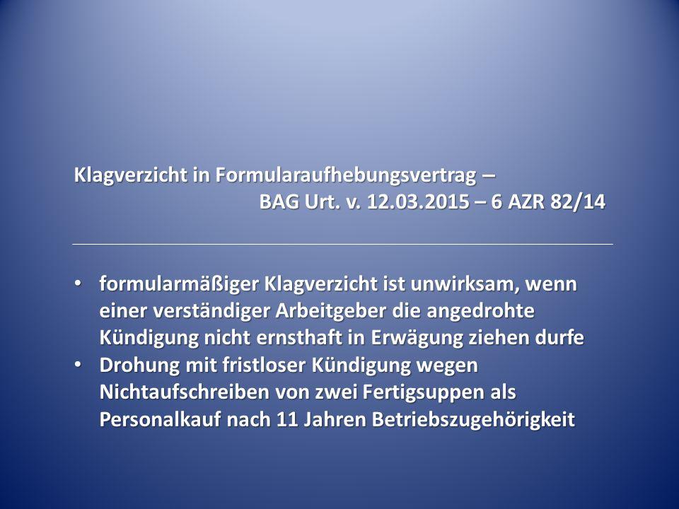 Klagverzicht in Formularaufhebungsvertrag –