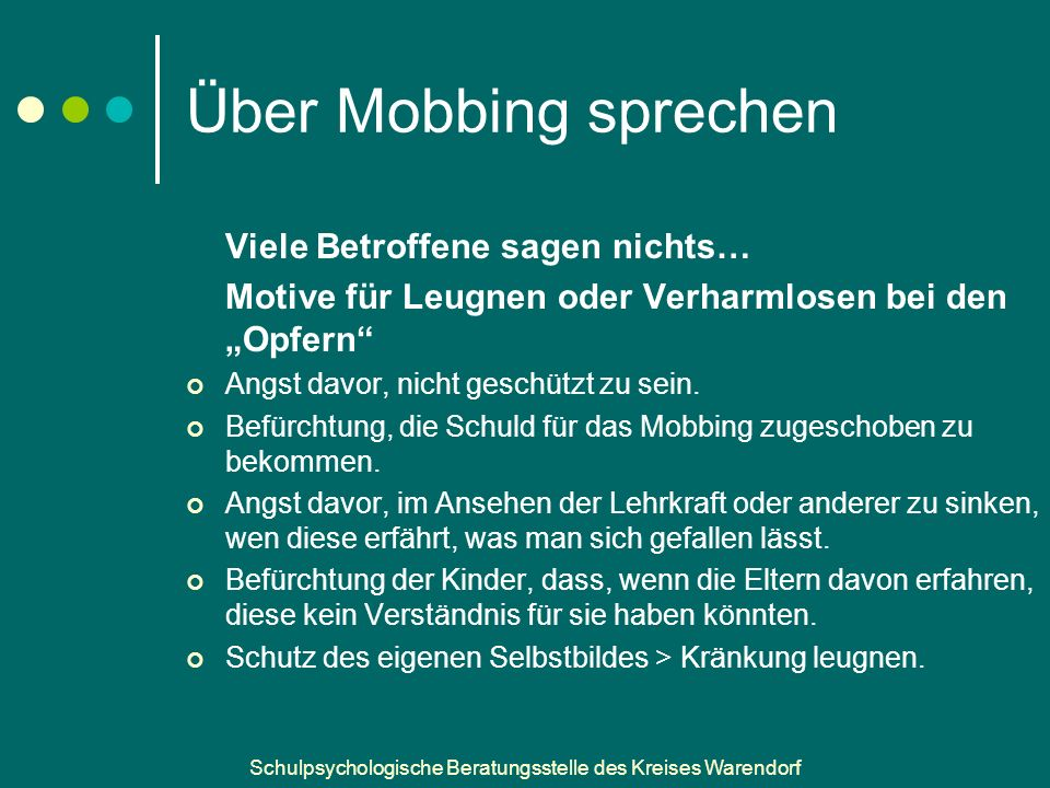 Über Mobbing sprechen Viele Betroffene sagen nichts…
