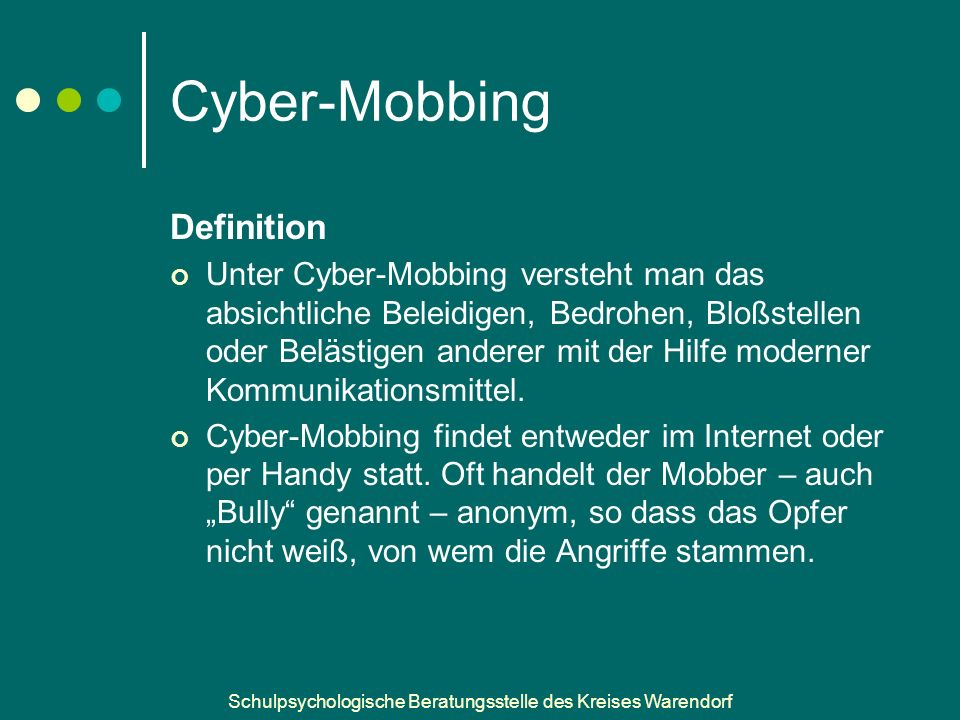 Cyber-Mobbing Definition