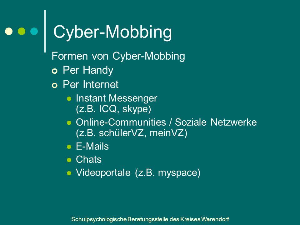 Cyber-Mobbing Formen von Cyber-Mobbing Per Handy Per Internet