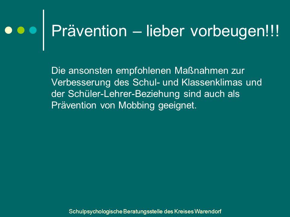 Prävention – lieber vorbeugen!!!