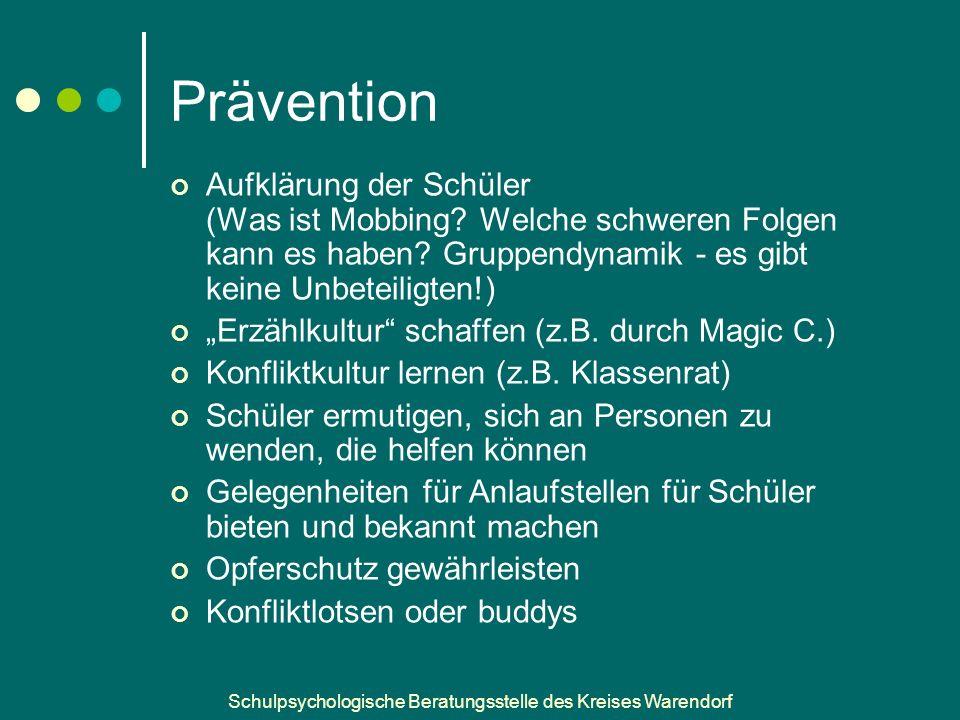 Prävention Aufklärung der Schüler (Was ist Mobbing Welche schweren Folgen kann es haben Gruppendynamik - es gibt keine Unbeteiligten!)