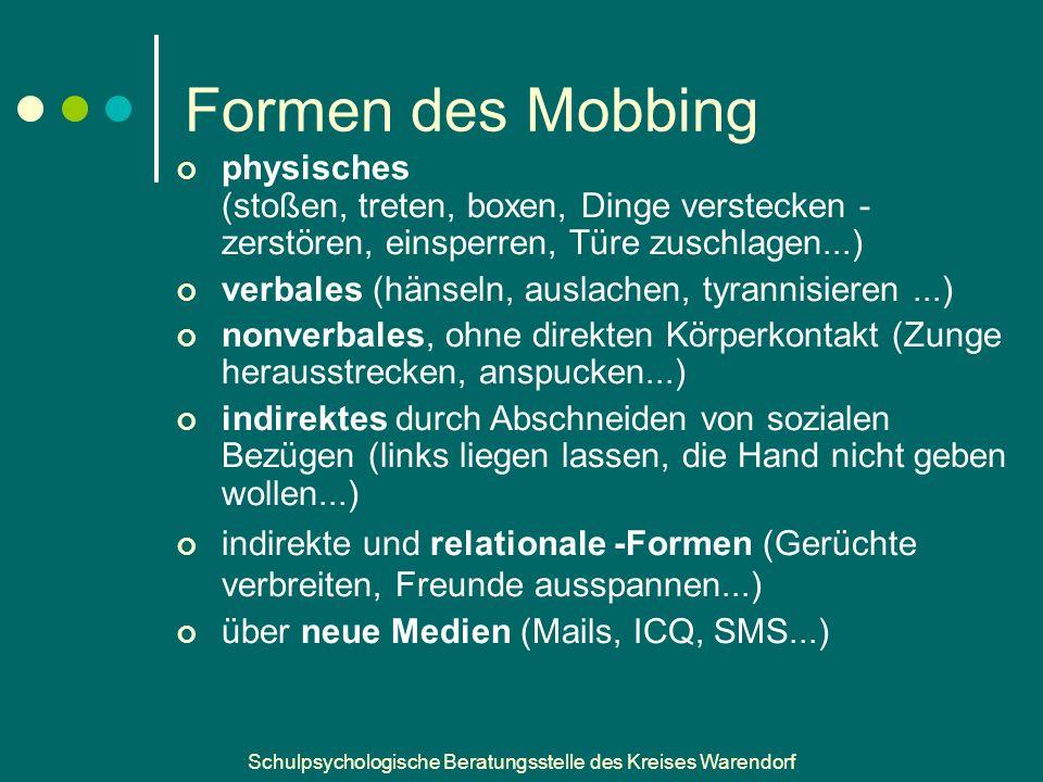 Formen des Mobbing physisches (stoßen, treten, boxen, Dinge verstecken - zerstören, einsperren, Türe zuschlagen...)