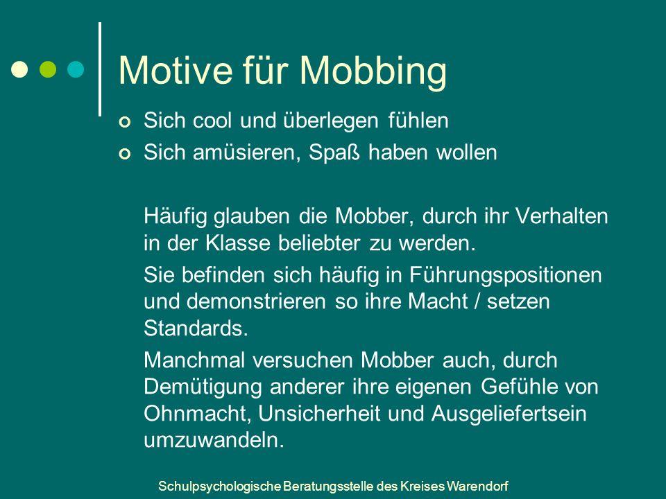 Motive für Mobbing Sich cool und überlegen fühlen