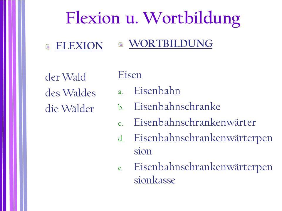 Flexion u. Wortbildung WORTBILDUNG FLEXION Eisen der Wald Eisenbahn