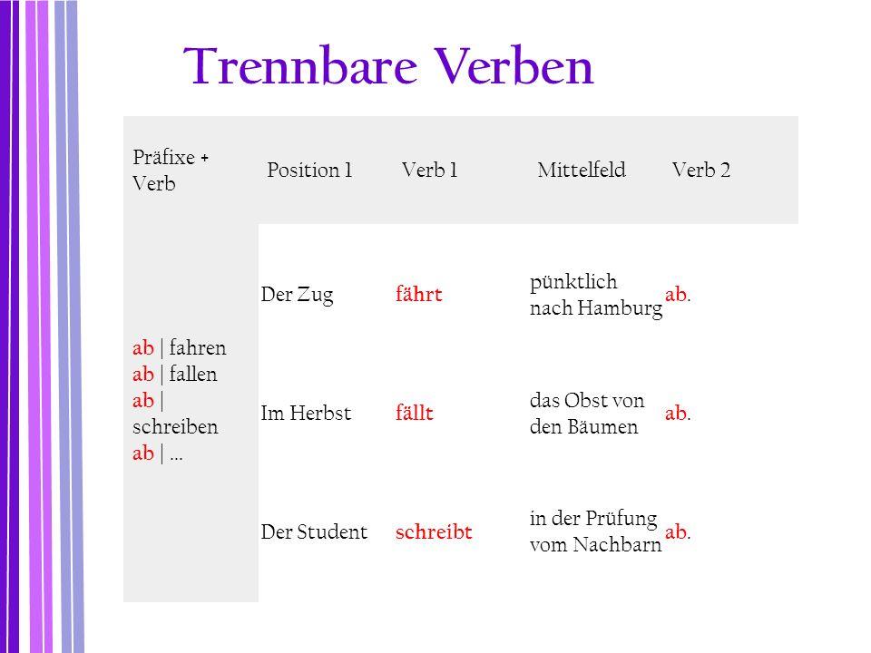 Trennbare Verben Präfixe + Verb Position 1 Verb 1 Mittelfeld Verb 2