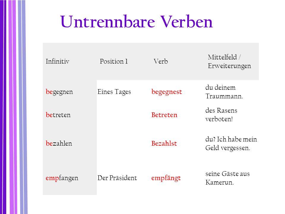 Untrennbare Verben Infinitiv Position 1 Verb