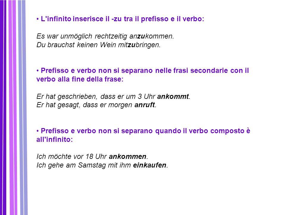 L infinito inserisce il -zu tra il prefisso e il verbo: