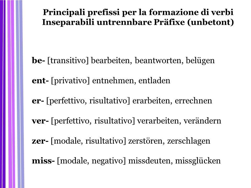 Principali prefissi per la formazione di verbi Inseparabili untrennbare Präfixe (unbetont)