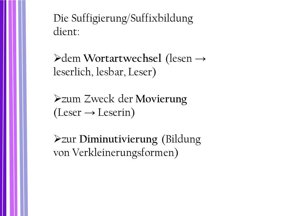 Die Suffigierung/Suffixbildung dient: