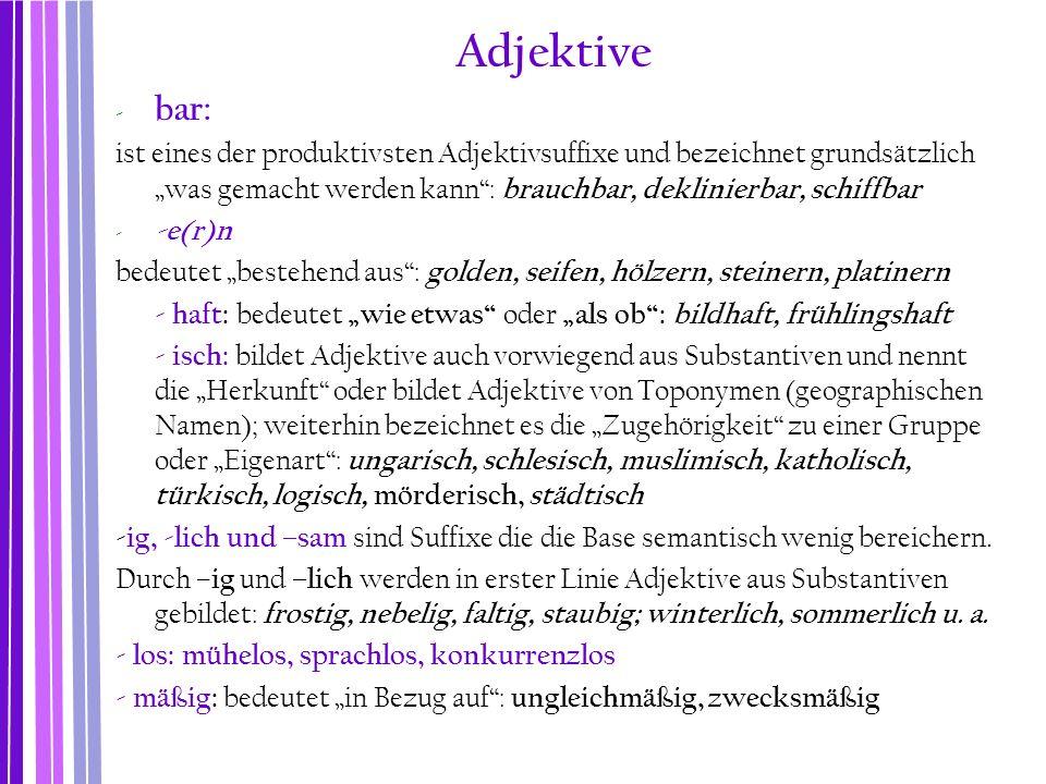 Adjektive bar: