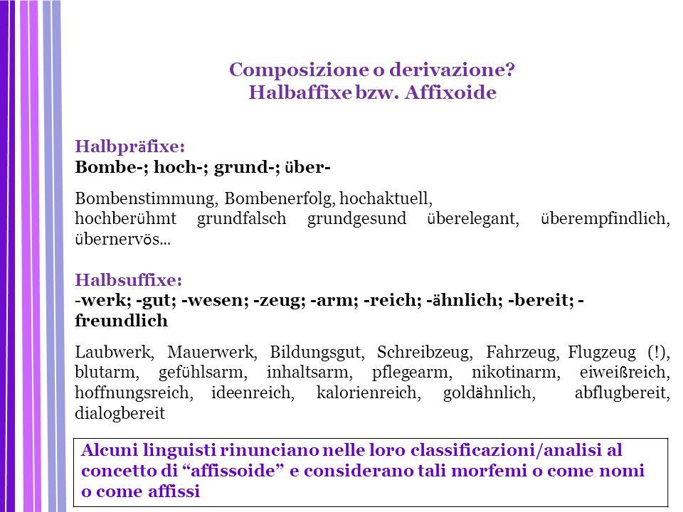 Composizione o derivazione Halbaffixe bzw. Affixoide