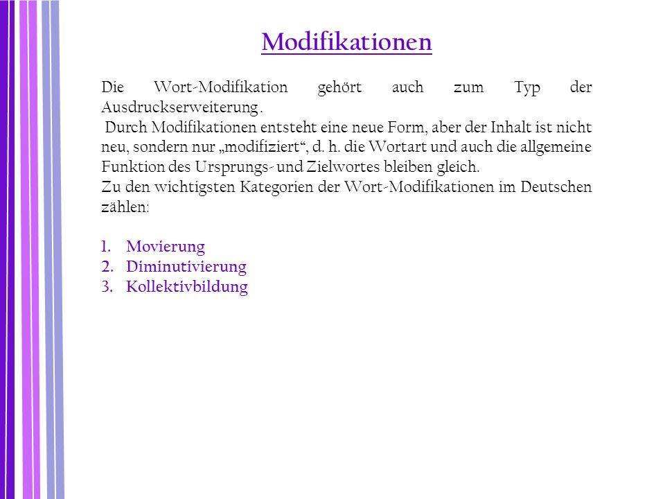 Modifikationen Die Wort-Modifikation gehört auch zum Typ der Ausdruckserweiterung .