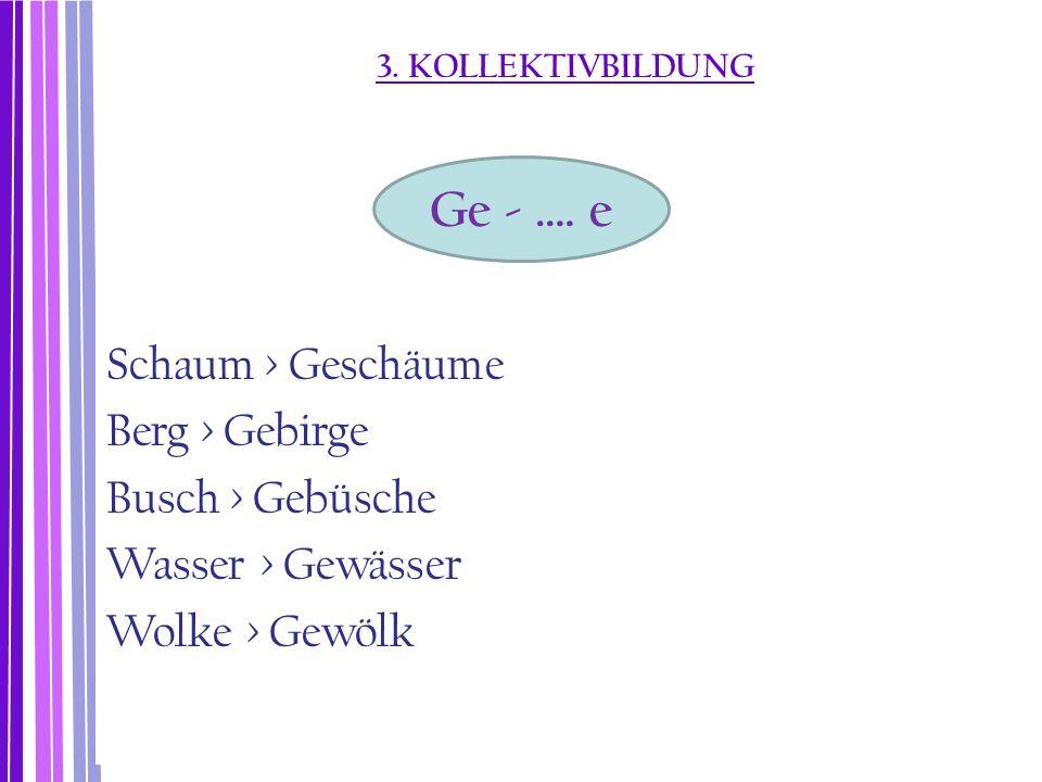 3. KOLLEKTIVBILDUNG Schaum > Geschäume Berg > Gebirge Busch > Gebüsche Wasser > Gewässer Wolke > Gewölk