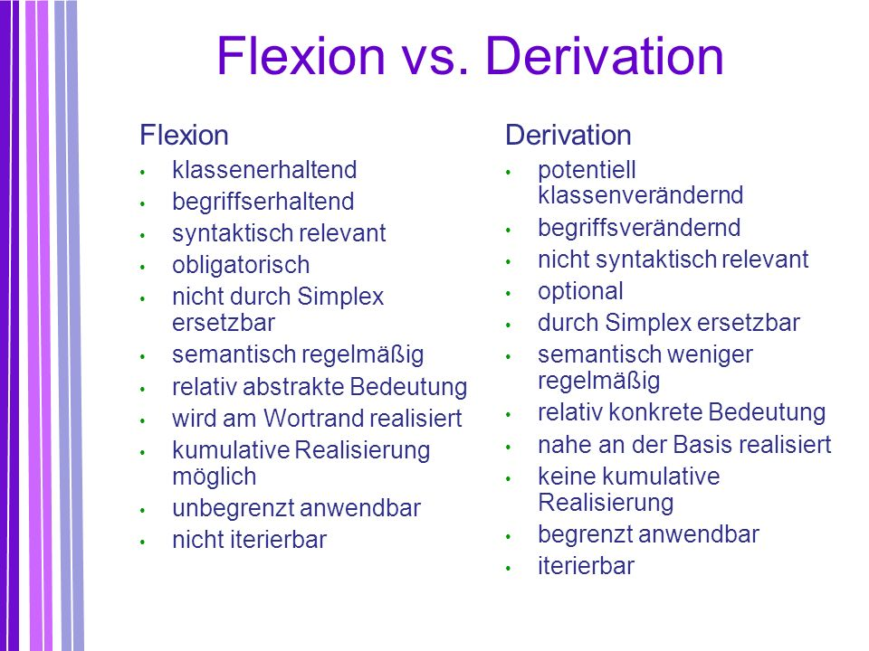 Flexion vs. Derivation Flexion Derivation klassenerhaltend