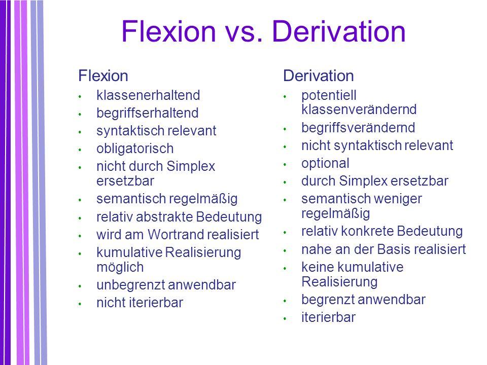 Flexion vs. Derivation Flexion Derivation klassenerhaltend
