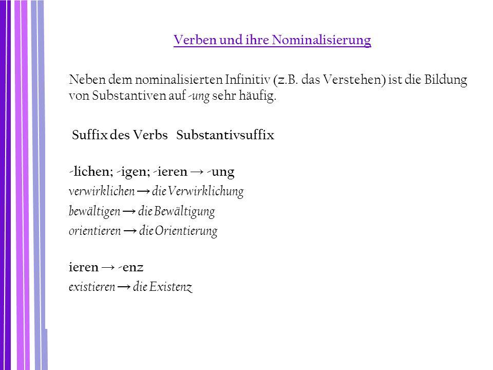 Verben und ihre Nominalisierung Neben dem nominalisierten Infinitiv (z