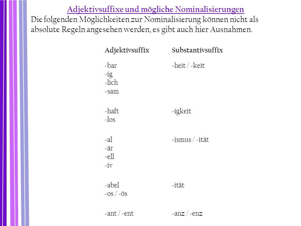 Adjektivsuffixe und mögliche Nominalisierungen