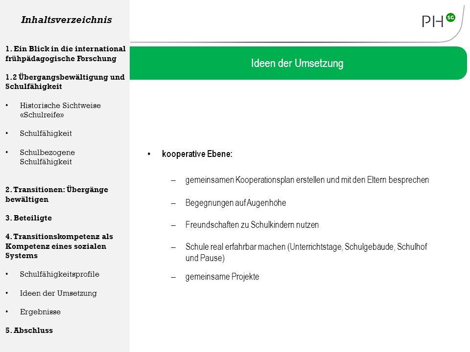 Ideen der Umsetzung Inhaltsverzeichnis kooperative Ebene:
