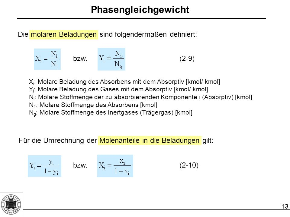 Phasengleichgewicht Die molaren Beladungen sind folgendermaßen definiert: bzw. (2-9)