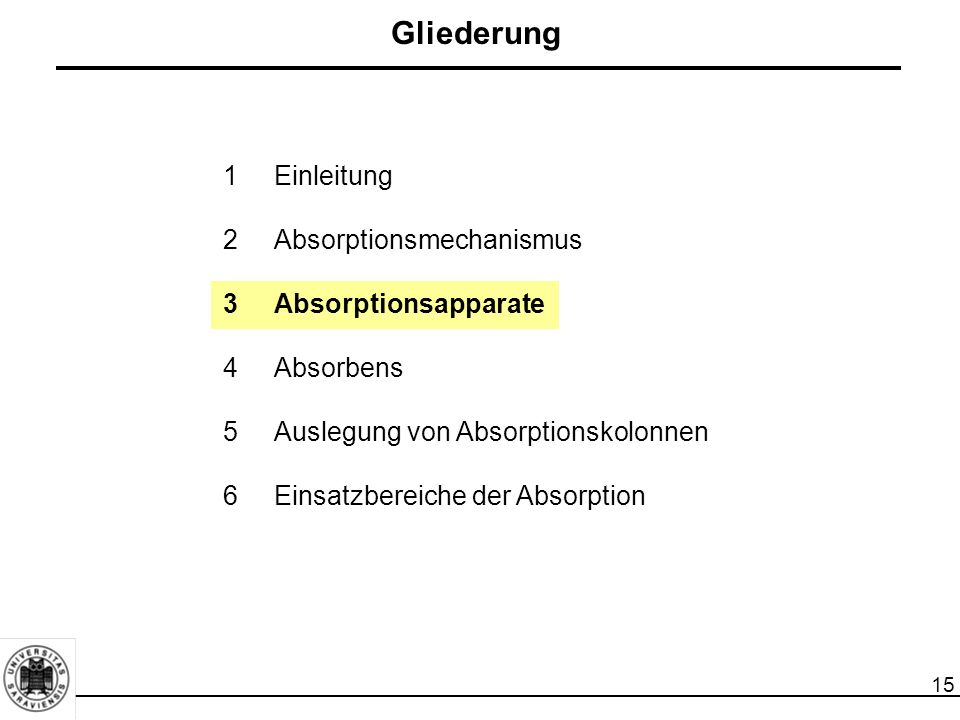 Gliederung 1 Einleitung 2 Absorptionsmechanismus 3 Absorptionsapparate