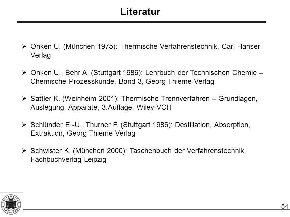 Literatur Onken U. (München 1975): Thermische Verfahrenstechnik, Carl Hanser Verlag.