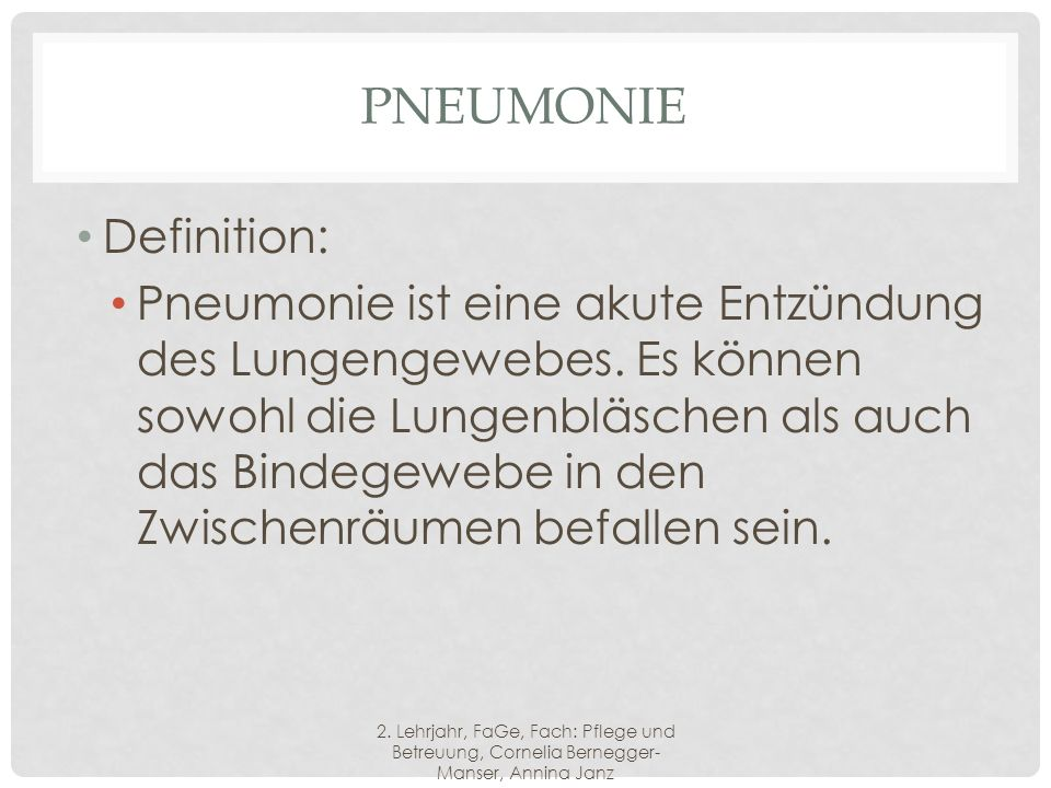 Pneumonie Definition: