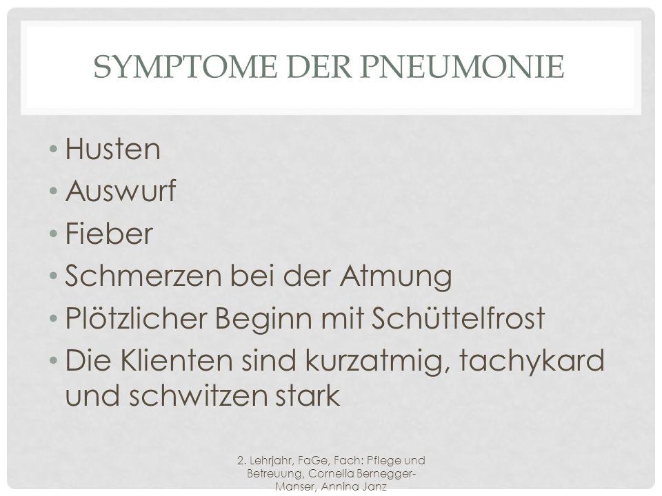 Symptome der Pneumonie