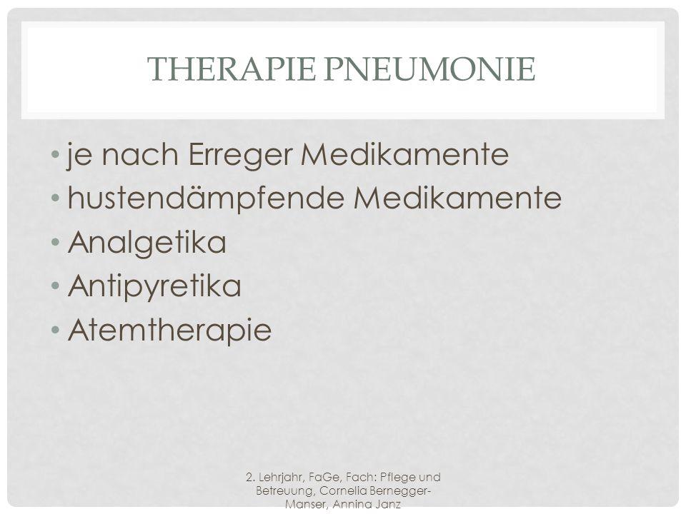 Therapie Pneumonie je nach Erreger Medikamente