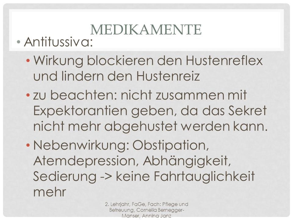 Medikamente Antitussiva:
