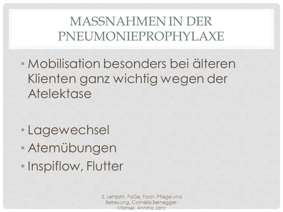 Massnahmen in der Pneumonieprophylaxe