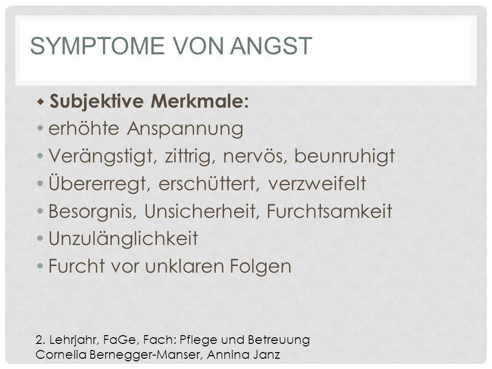 Symptome von Angst erhöhte Anspannung