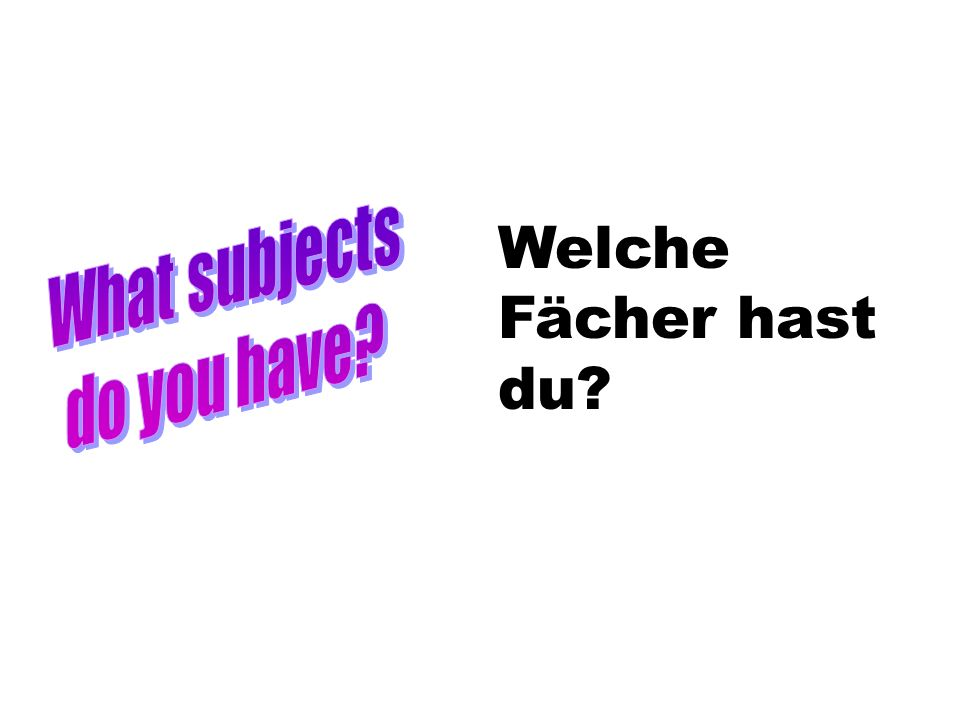 What subjects do you have Welche Fächer hast du
