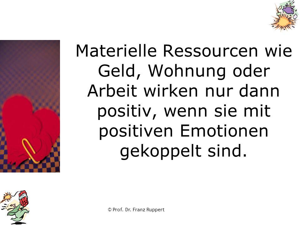 Materielle Ressourcen wie Geld, Wohnung oder Arbeit wirken nur dann positiv, wenn sie mit positiven Emotionen gekoppelt sind.