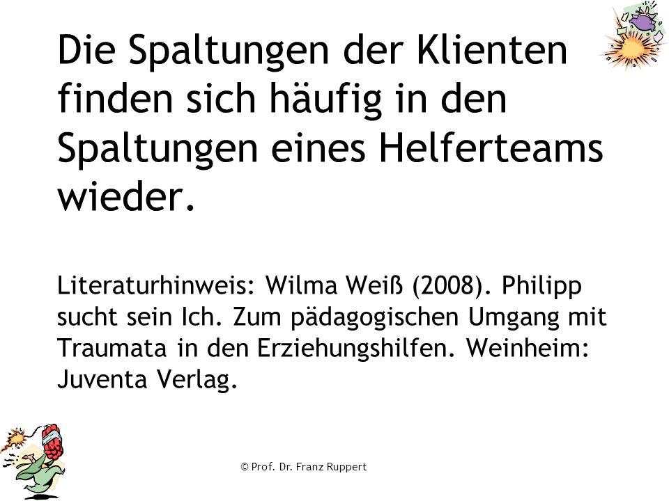 Die Spaltungen der Klienten finden sich häufig in den Spaltungen eines Helferteams wieder. Literaturhinweis: Wilma Weiß (2008). Philipp sucht sein Ich. Zum pädagogischen Umgang mit Traumata in den Erziehungshilfen. Weinheim: Juventa Verlag.