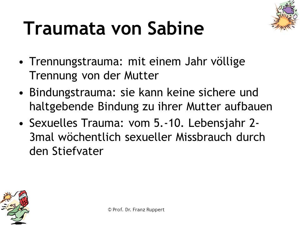 Traumata von Sabine Trennungstrauma: mit einem Jahr völlige Trennung von der Mutter.