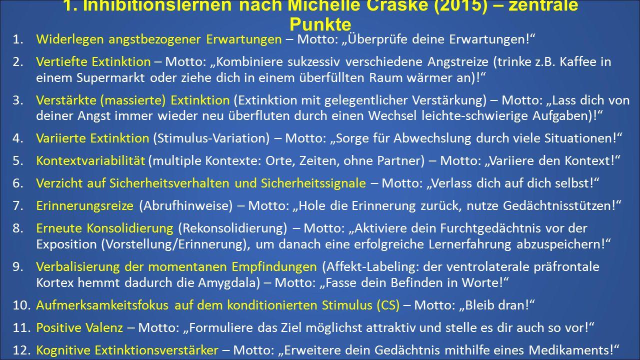 1. Inhibitionslernen nach Michelle Craske (2015) – zentrale Punkte