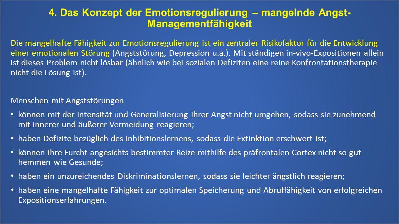 4. Das Konzept der Emotionsregulierung – mangelnde Angst-Managementfähigkeit