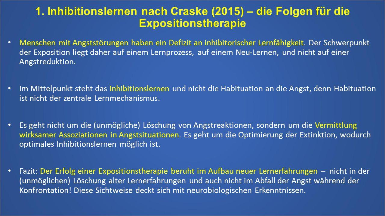 1. Inhibitionslernen nach Craske (2015) – die Folgen für die Expositionstherapie