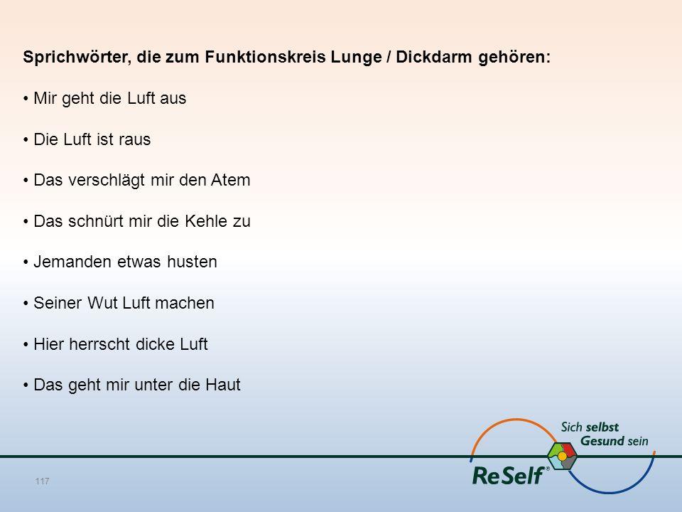 Sprichwörter, die zum Funktionskreis Lunge / Dickdarm gehören:
