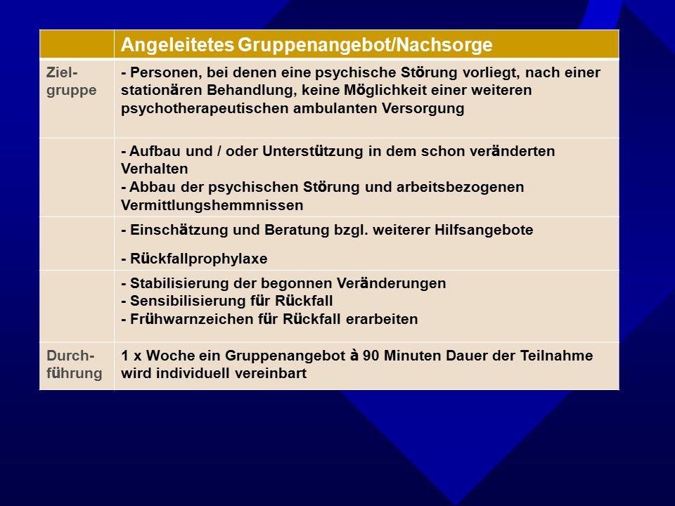 Angeleitetes Gruppenangebot/Nachsorge