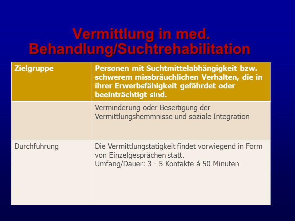 Vermittlung in med. Behandlung/Suchtrehabilitation
